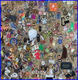 Huge Lot Of 300+ Keychains Key Rings Fob 15lbs! Charm Ad Promo Souvenir Novelty
